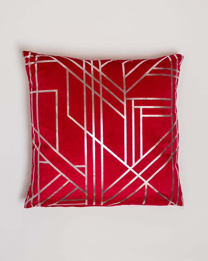 "18"" x 18"" Metallique Lines Pillow - Red/Silver"