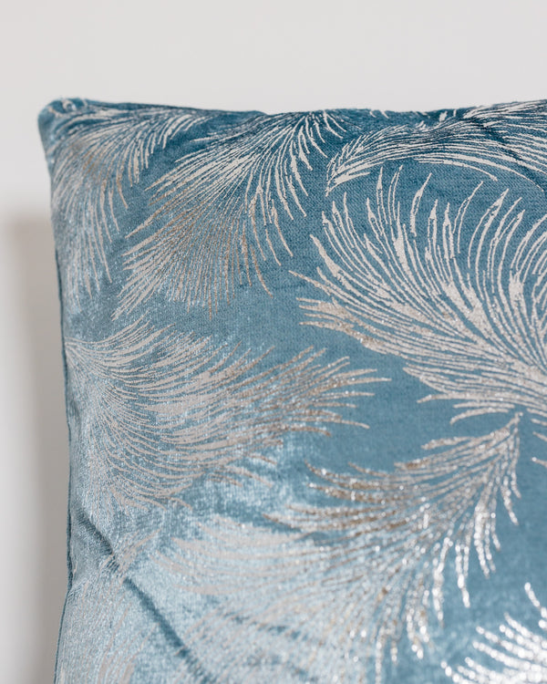 "18"" x18"" Delicat Pillow- Blue/Silver"