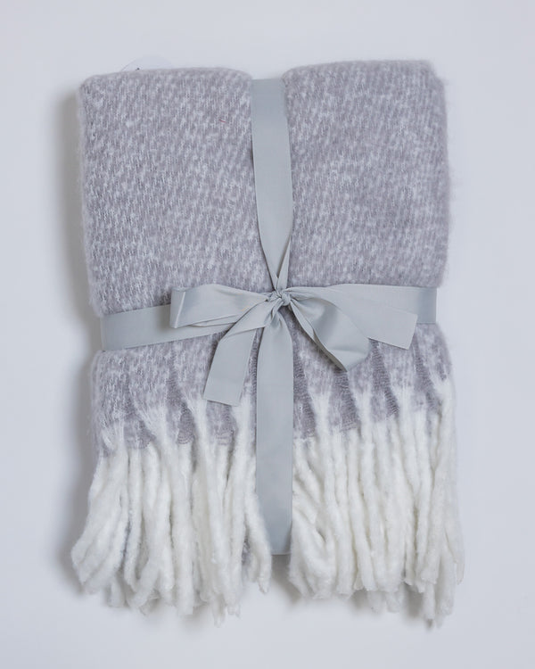 "50""x 60"" Fluffy Throw Blanket Lt. Gray/White"