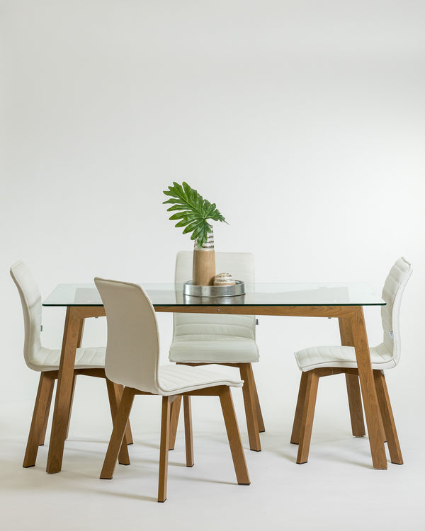 Gemma Dinning SET - White (Table & Chairs)
