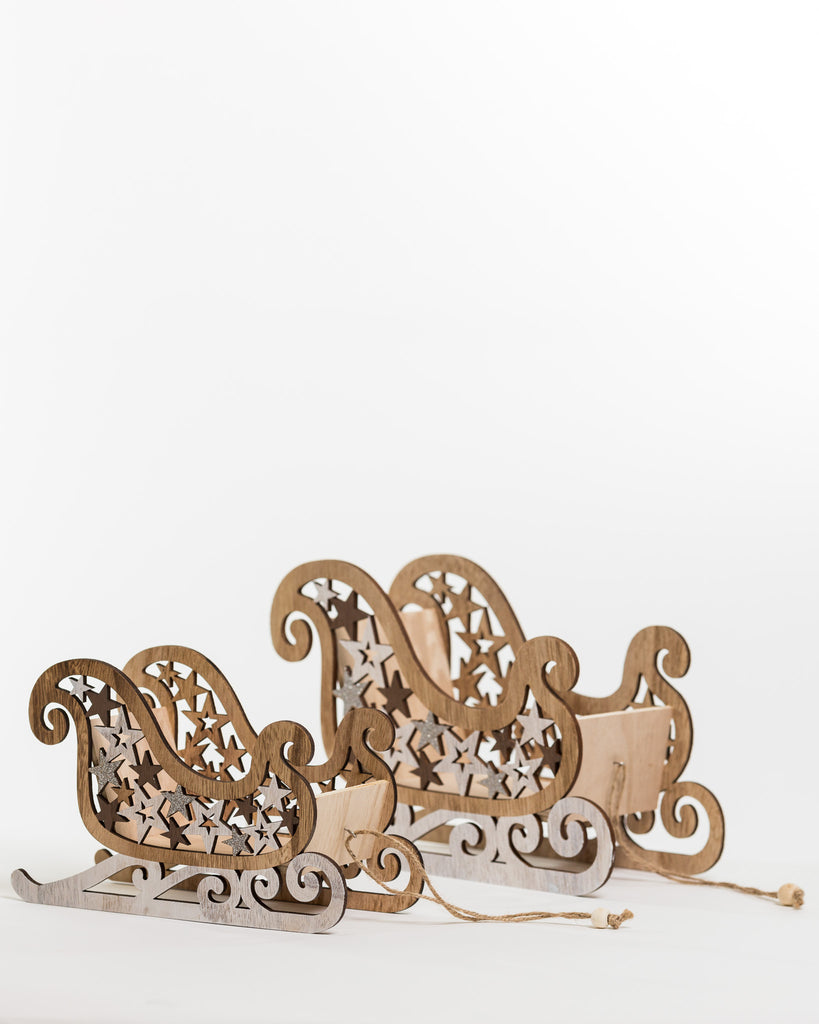 "Wooden Sleigh Decor 9"" - Noël Collection"