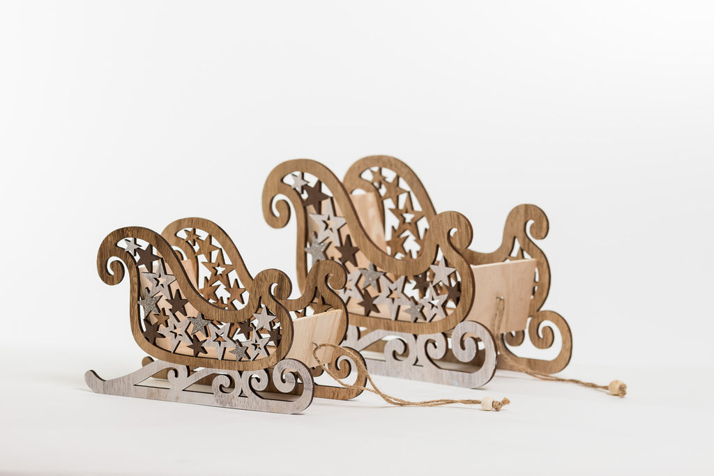 "Wooden Sleigh Decor 12"" - Noël Collection"
