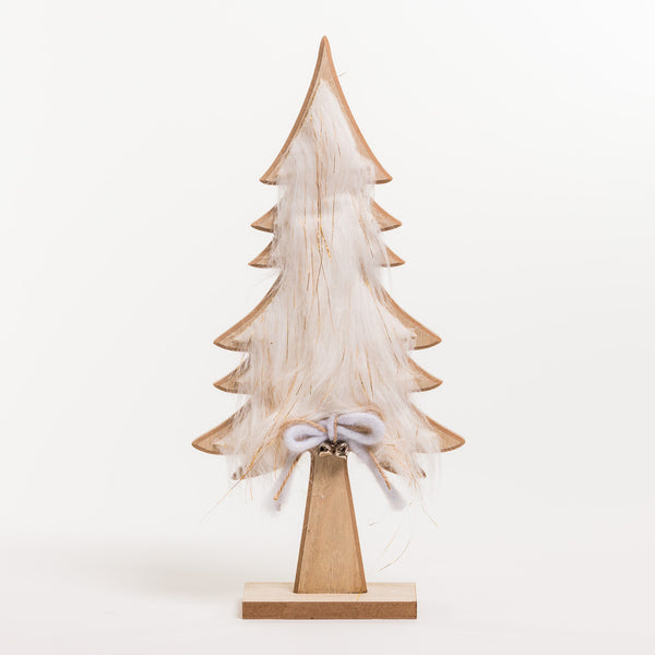 "Wooden Tree w/Faux Fur 16"" - Noël Collection"