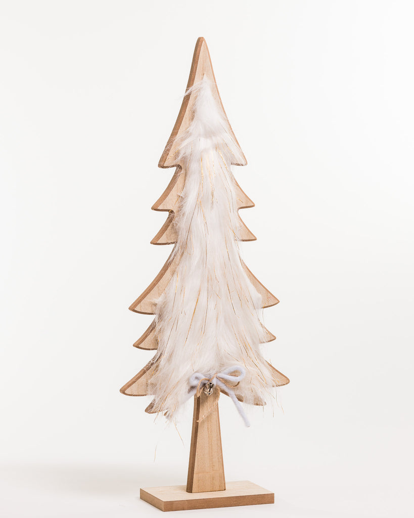 "Wooden Tree w/Faux Fur 22"" - Noël Collection"