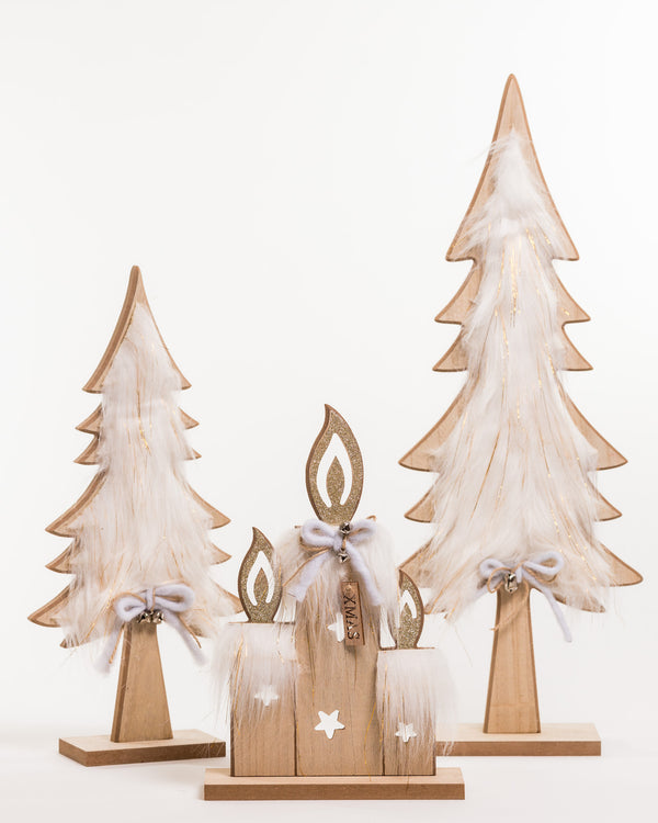 "Wooden Candle Decor w/Faux Fur 13"" - Noël Collection"