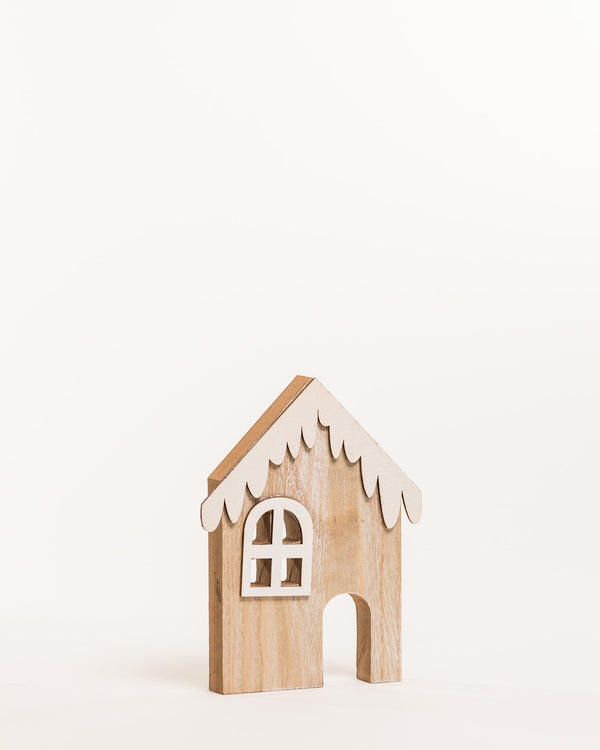 "Wooden House w/Snow B 8"" - Noël Collection"