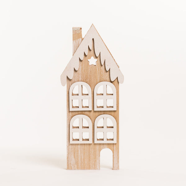 "Wooden House w/Snow C 12"" - Noël Collection"