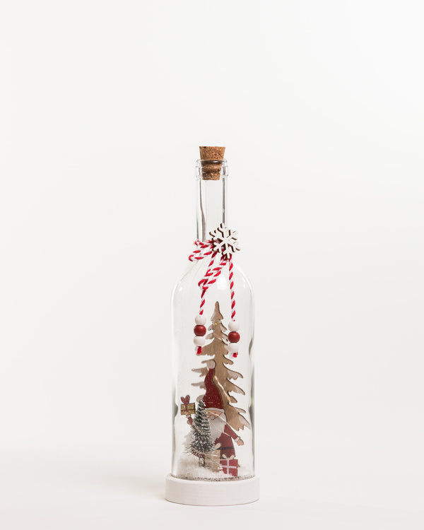 "12"" Red/White/Natural Glass Bottle Santa Decoration - Noël Collection"