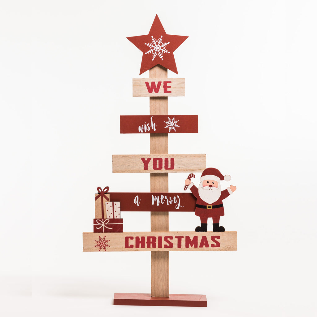 "22"" Red/White/Natural Wooden Vintage Tree - Noël Collection"