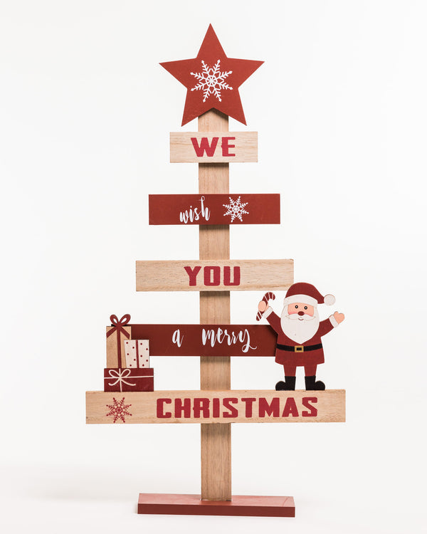 "16"" Red/White/Natural Wooden Vintage Tree - Noël Collection"