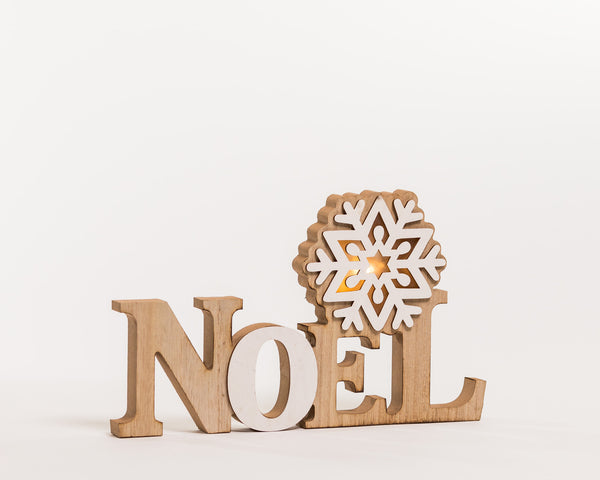 "12"" White/Natural ""Noel"" Decoration w/LED - Noël Collection"