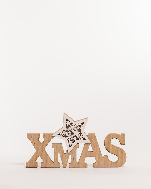 "12"" White/Natural ""Xmas"" Star Decoration w/LED - Noël Collection"
