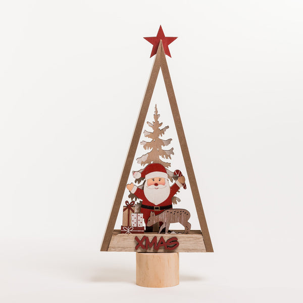 "14"" Red/White/Natural Wooden Vintage Tree - Noël Collection"