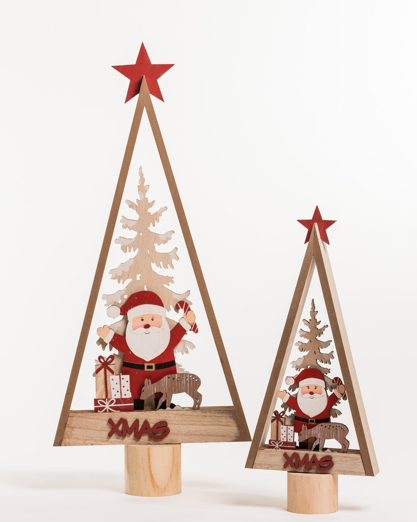 "21"" Red/White/Natural Wooden Vintage Tree - Noël Collection"