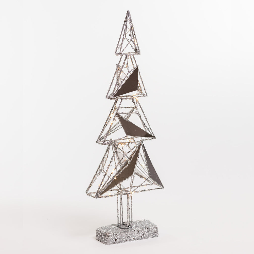 "20"" Reflections Silver Xmas Tree w/ lights on Stand - Metallic Collection"