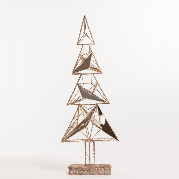 "20"" Reflections Champagne Xmas Tree w/ lights on Stand - Metallic Collection"