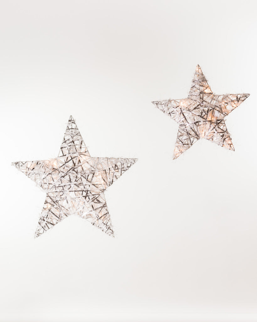 "3D Silver Star 16"" w/Lights - Boho Chic Collection"