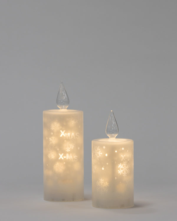 "8"" White Glass Candle Xmas Projection - Felicitá Collection"