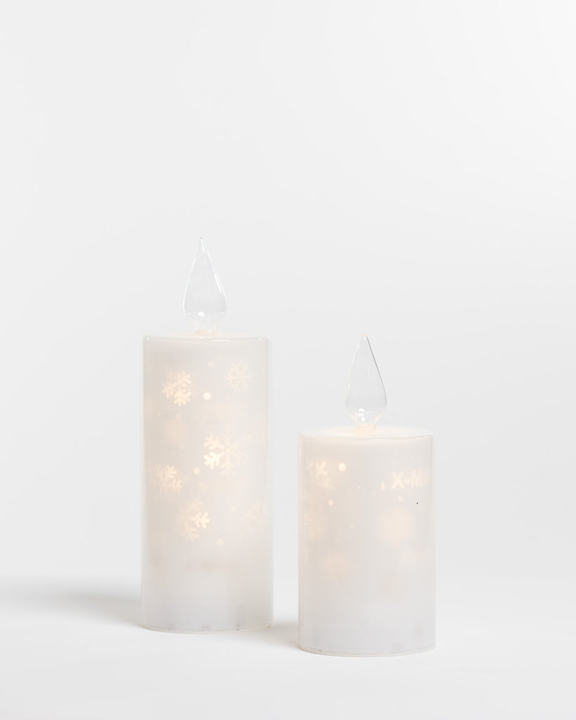 "10"" White Glass Candle Xmas Projection - Felicitá Collection"