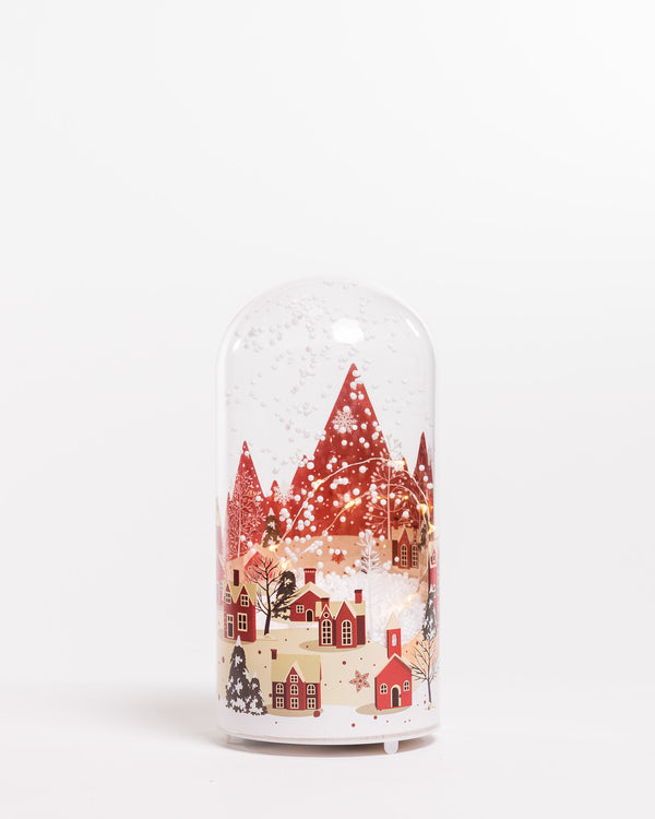 "10"" Red Vintage Houses Glass Case w/Snow & Led - Felicitá Collection"