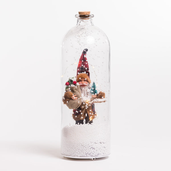 "15"" White/Silver Santa Glass Case w/Snow & LED - Felicitá Collection"