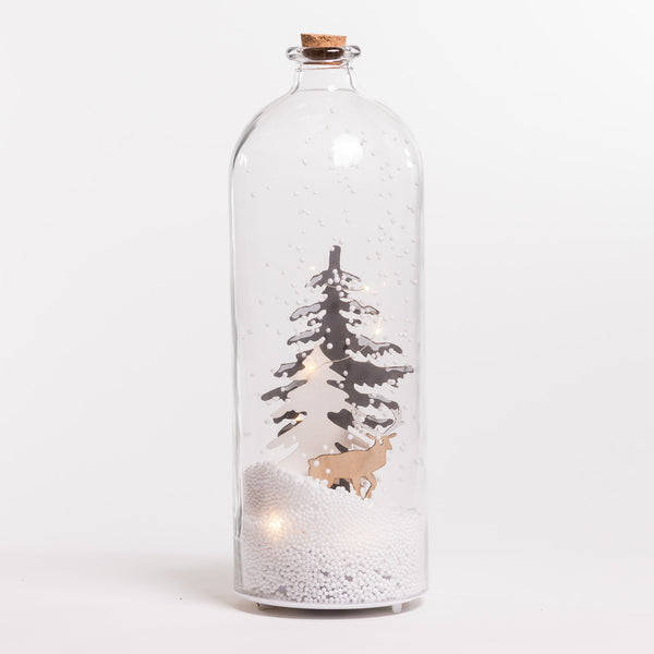 "15"" White/Silver Xmas Tree Glass Case w/Snow & LED - Felicitá Collection"