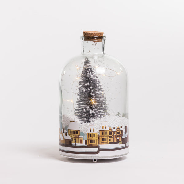 "9"" Vintage Houses Glass Case w/Snow & Led - Felicitá Collection"