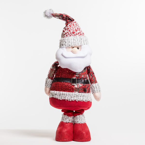 "34"" Red/Silver Flexible Standing Santa - Metallic Collection"