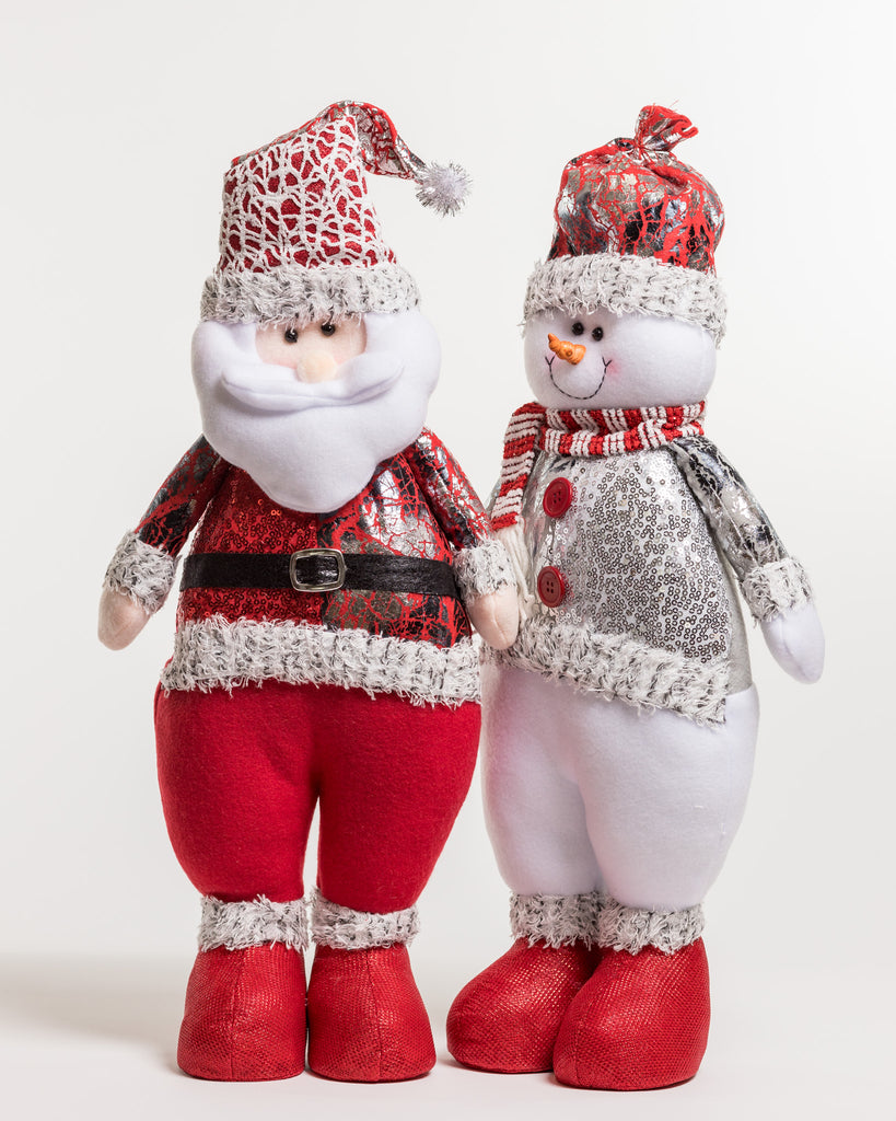 "20"" Red/Silver Standing Snowman - Metallic Collection"