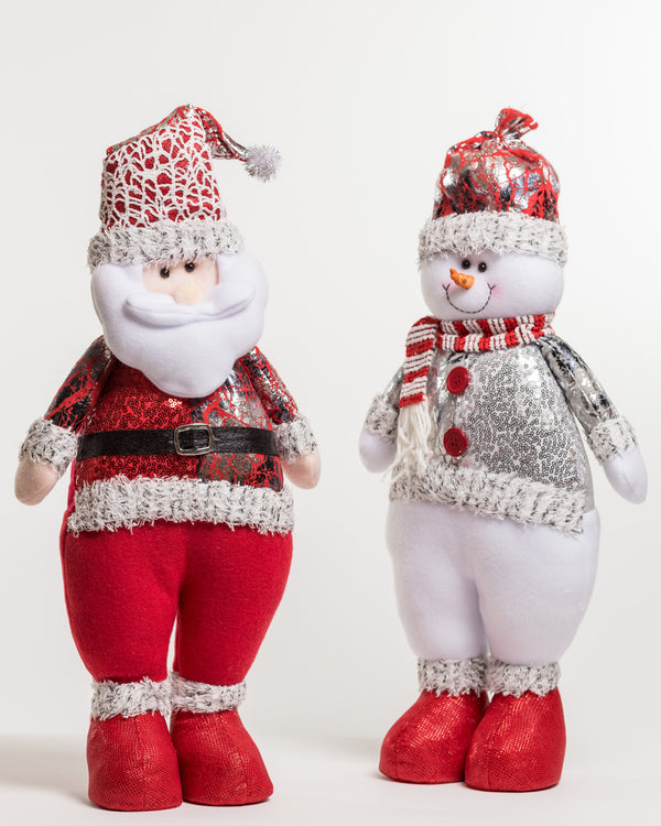 "23"" Red/Silver Standing Santa - Metallic Collection"