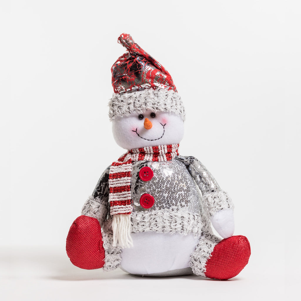"13"" Red/Silver Sitting Snowman - Metallic Collection"