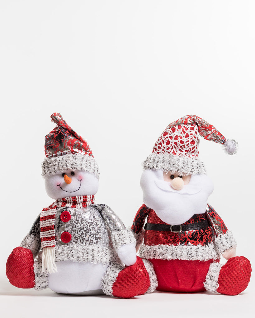 "15"" Red/Silver Sitting Santa - Metallic Collection"