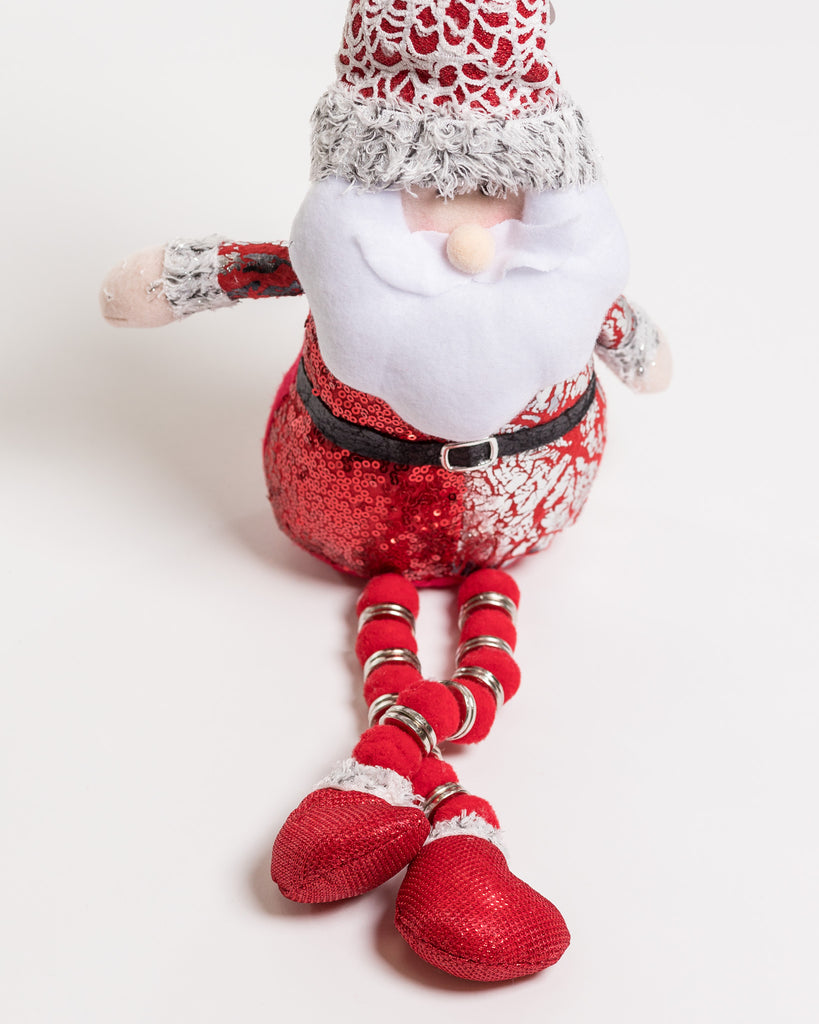 "18"" Red/Silver Sitting Santa w/long legs - Metallic Collection"