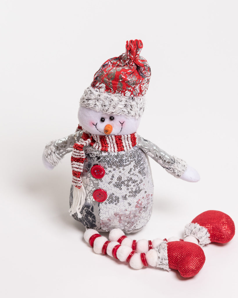 "18"" Red/Silver Sitting Snowman w/long legs - Metallic Collection"
