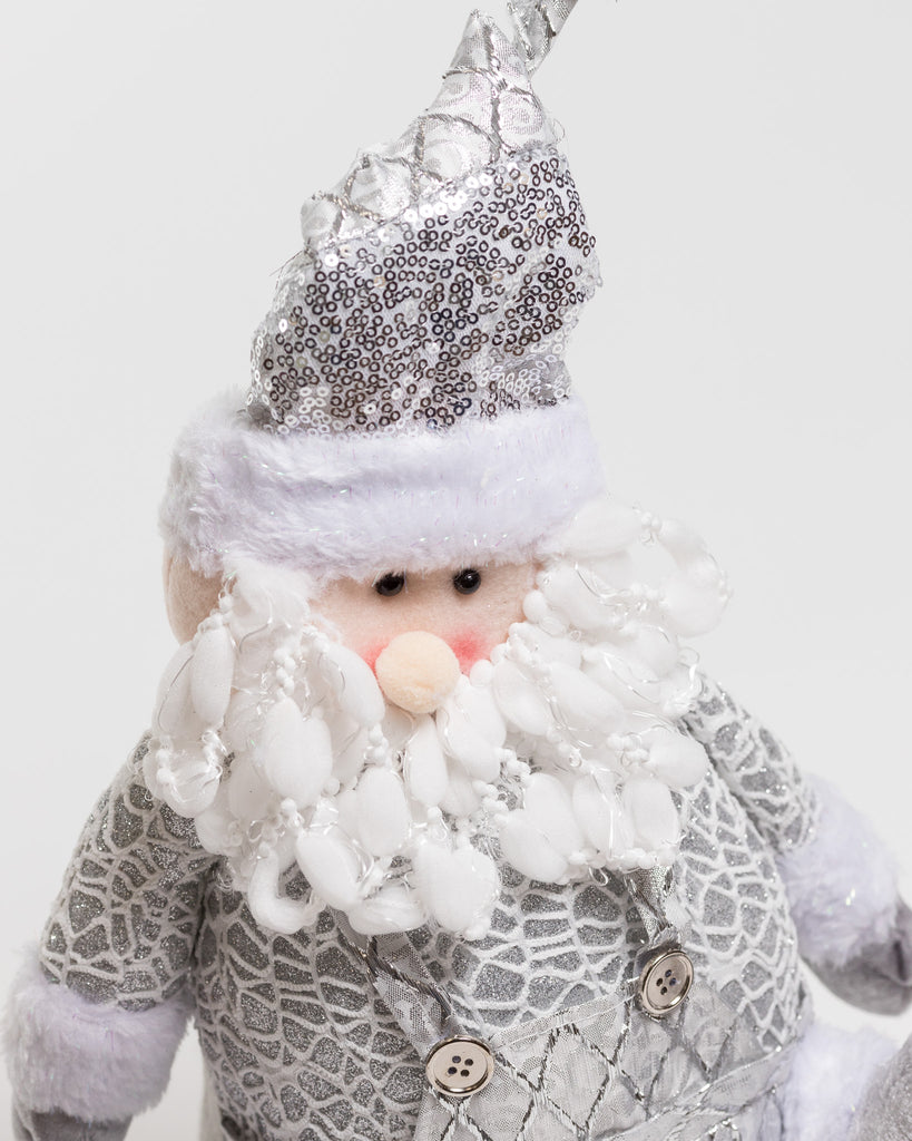 "17"" Silver Sitting Santa - Metallic Collection"