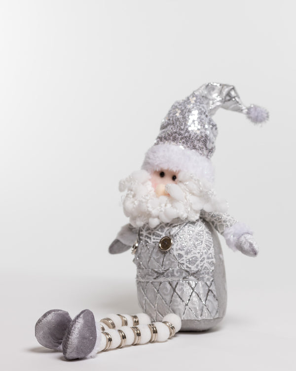 "21"" Silver Sitting Santa w/long legs - Metallic Collection"