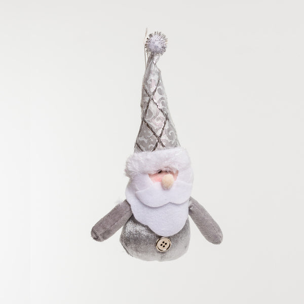 "6"" Silver Santa Ornament - Metallic Collection"