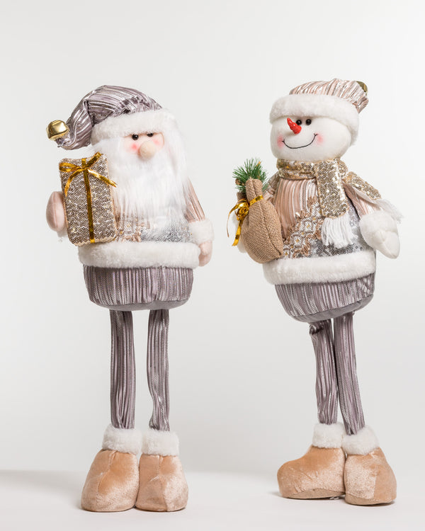 "22"" Standing Snowman Silver/Champagne - Metallic Collection"