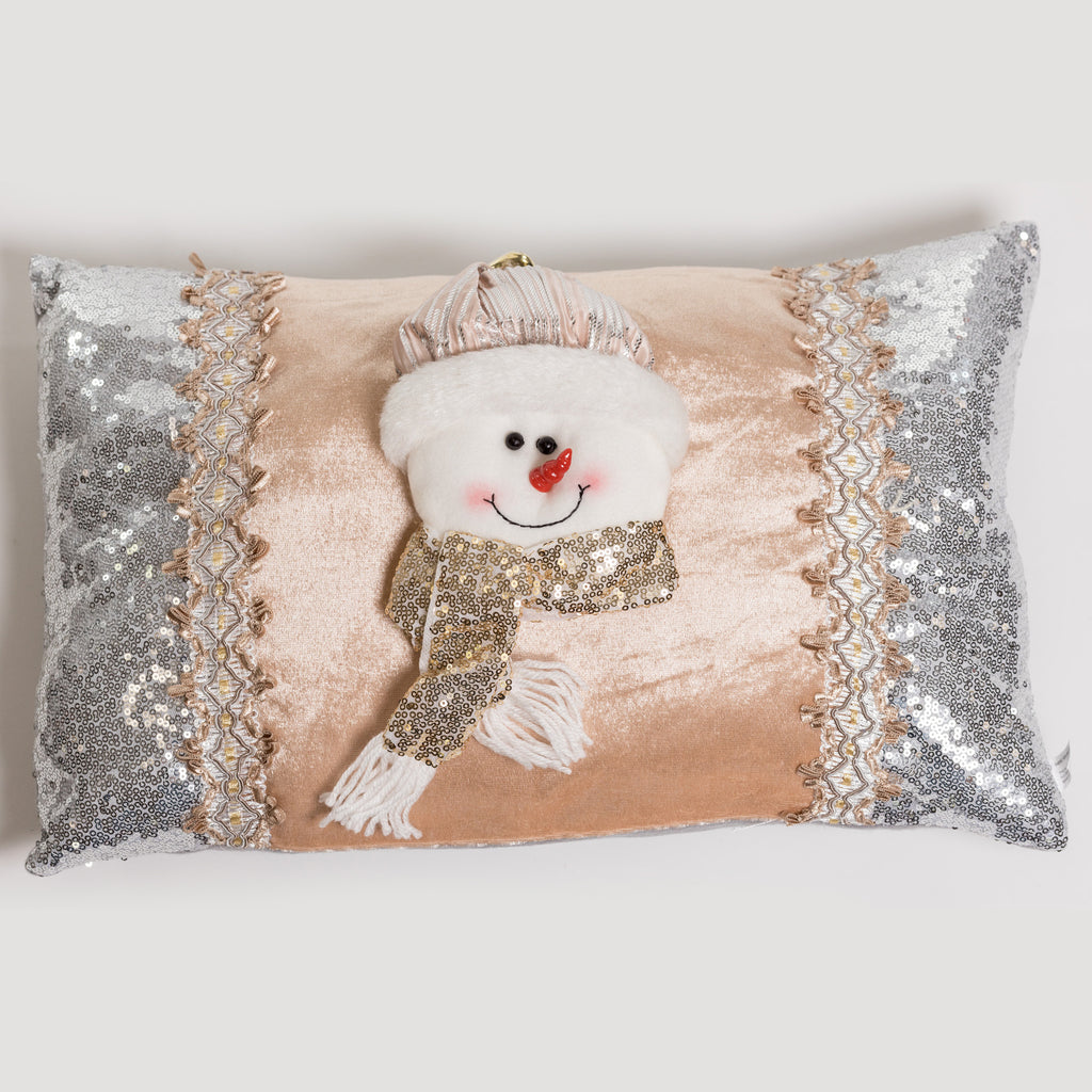 "17"" Snowman Cushion Silver/Champagne - Metallic Collection"