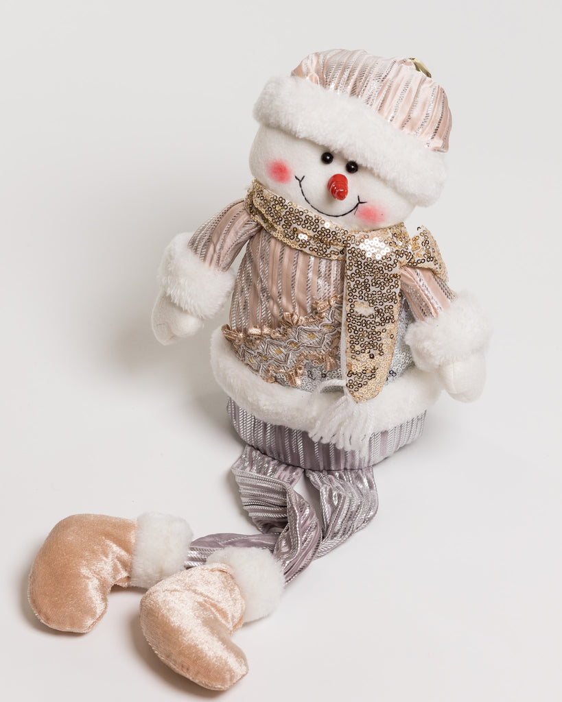 "20"" Sitting Snowman w/long legs Silver/Champagne - Metallic Collection"