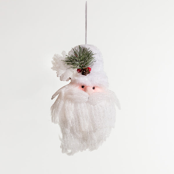 "12"" Iridescent White Santa head w/hanger"