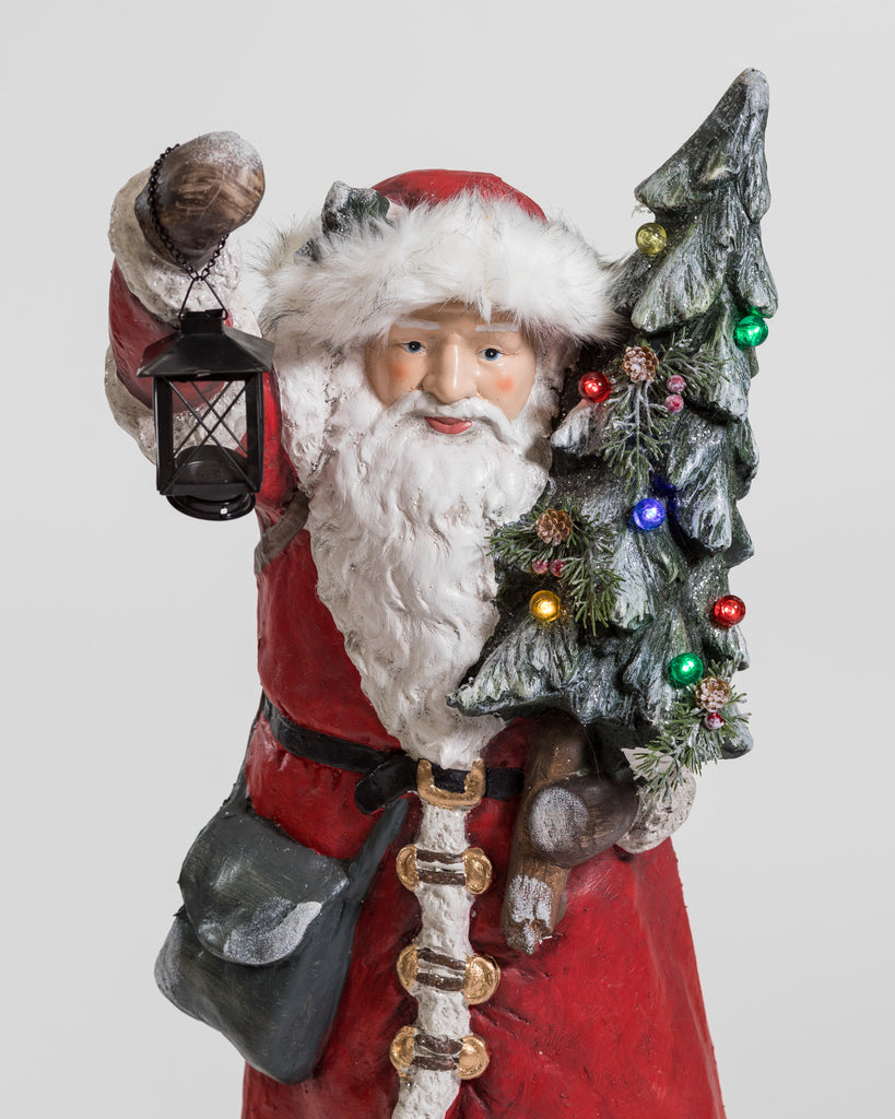 "39"" Standing Santa, Lantern & Xmas Tree w/lights - Cheerful Collection"