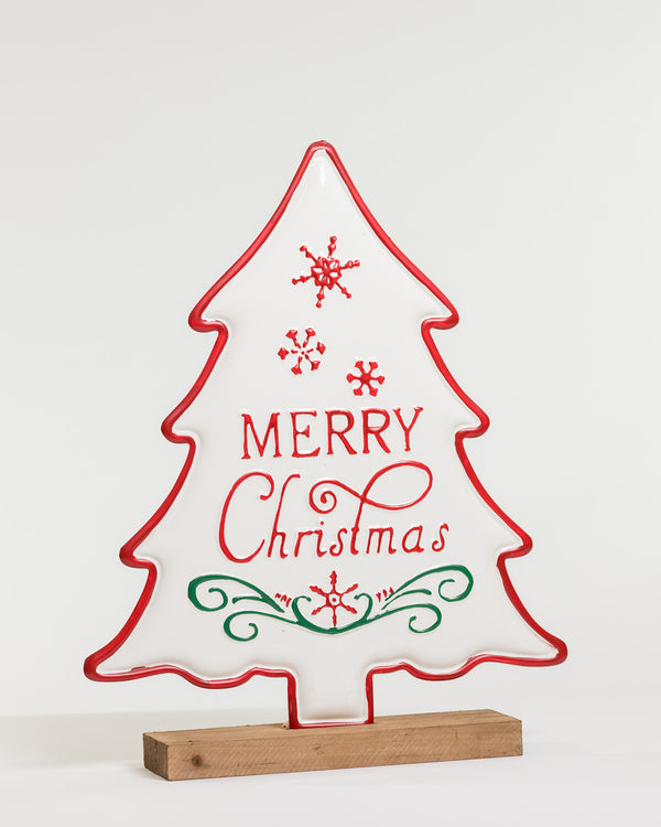 Merry Xmas Wood & Metal Tree Table Stand - Natal Collection