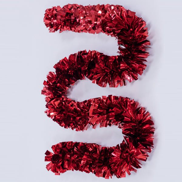"6.5ft ""T"" Shape Red Tinsel Garland - Metallic Collection"