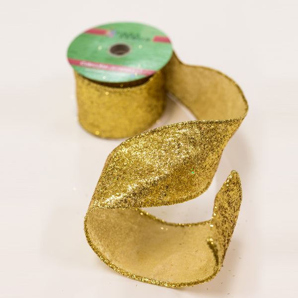 "2.5"" Gold Metallic Ribbon"