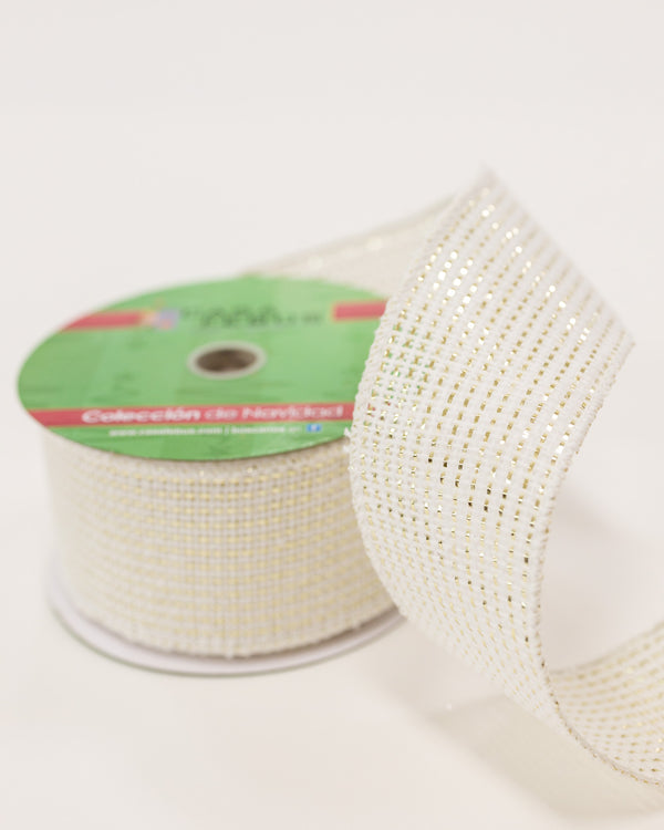 "2.5"" White/Gold Texture Ribbon"