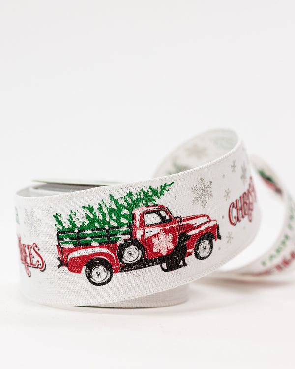 "2.5"" x 25ft Vintage Truck Ribbon - Noël Collection"