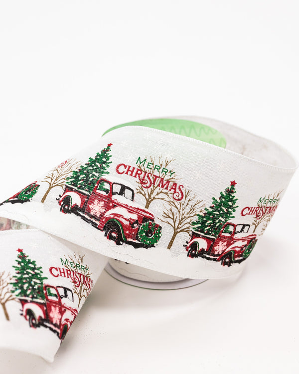 "5"" x 25ft Vintage Truck Ribbon - Noël Collection"