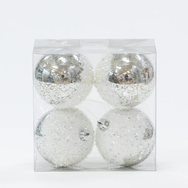 "Set/4 4"" Shinny Silver w/Frosted Top Balls - Metallic Collection"