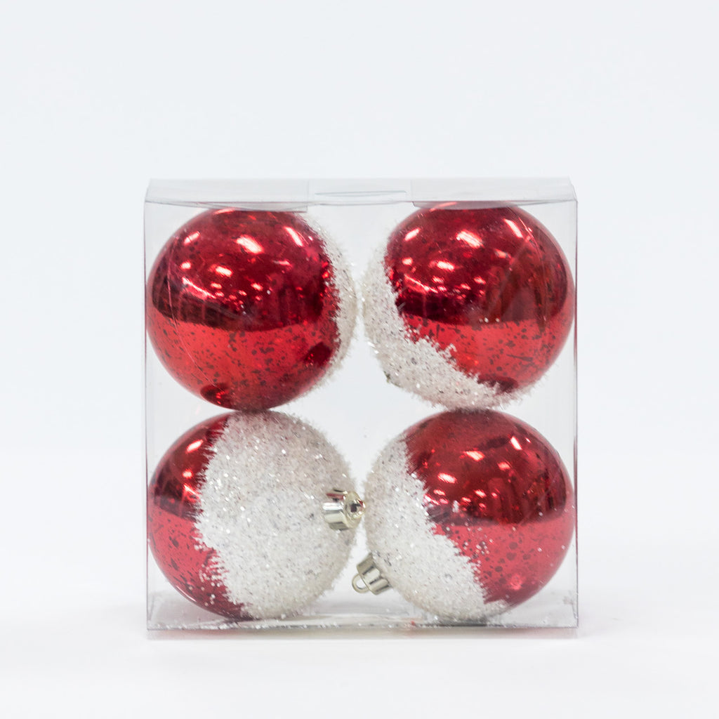 "Set/4 3"" Shinny Red w/Frosted Top Balls - Metallic Collection"